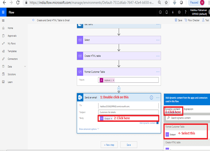Format HTML table in outlook using Microsoft flow power automate -  Send an email action