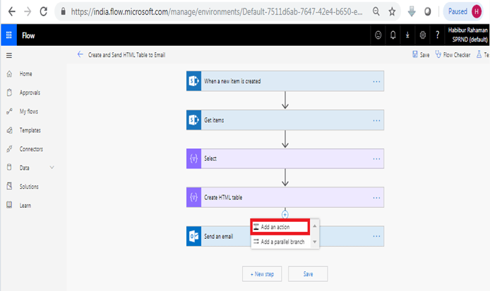 Format HTML table in outlook using Microsoft flow power automate add an action