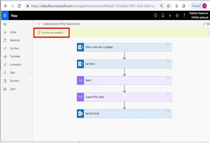 Send an email office 365 outlook configuration in Microsoft flow power automate - Your flow ran successfully