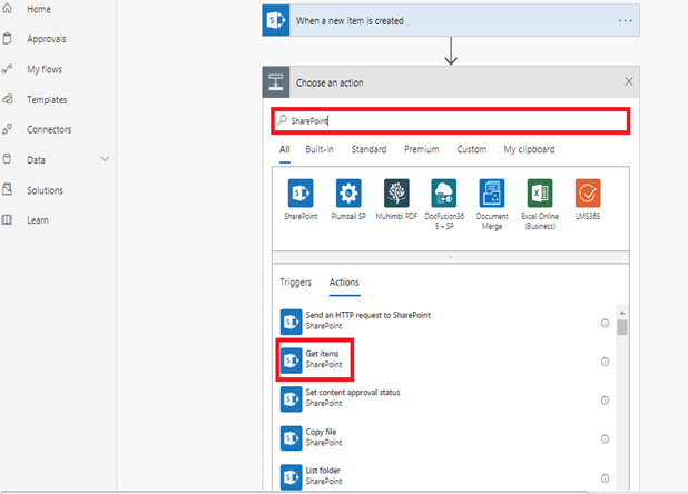 When a new item is added in SharePoint, complete a custom action - Choose an action Search SharePoint