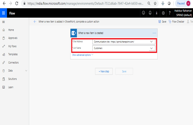 When a new item is added in SharePoint, complete a custom action continue - Site Address, List Name