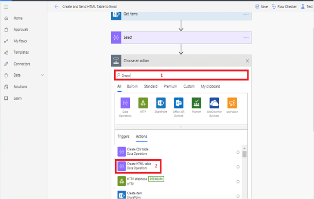 Create HTML Table Data Operations in Microsoft flow power automate