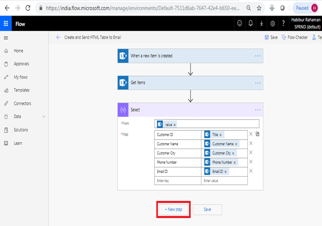When a new item is created - Get Items in Microsoft Flow, Data Operations, Select Data Operations, Dynamic Content Mapping, +Next Step