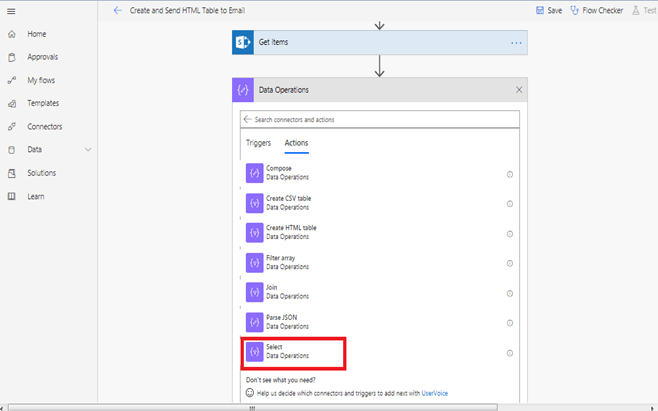 When a new item is created - Get Items in Microsoft Flow, Data Operations, Select Data Operations