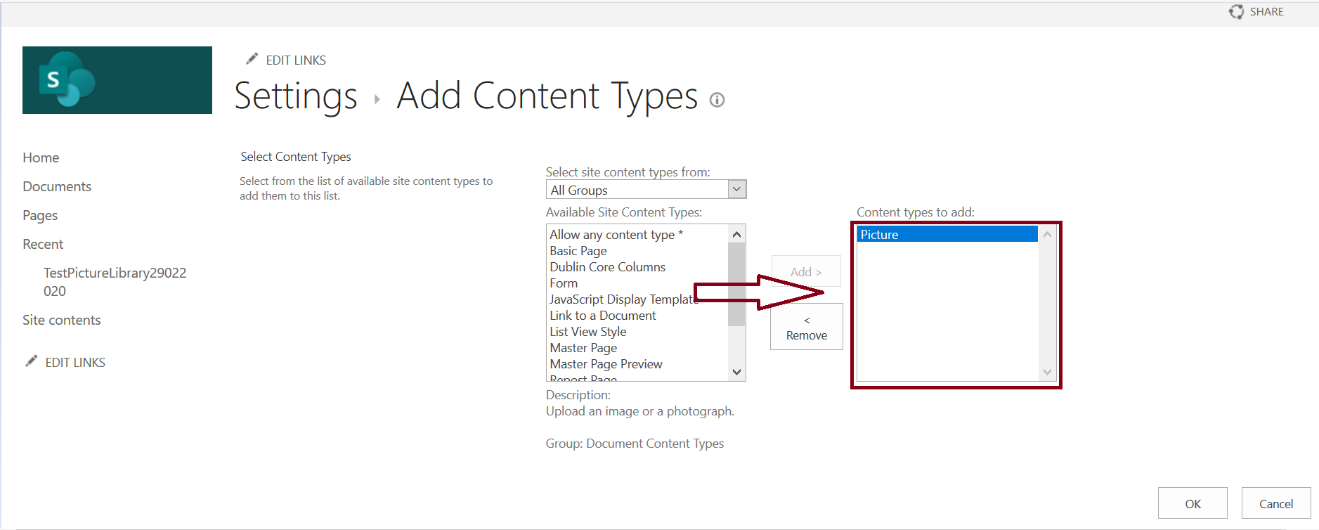 Add Content Types - Picture in Document Library