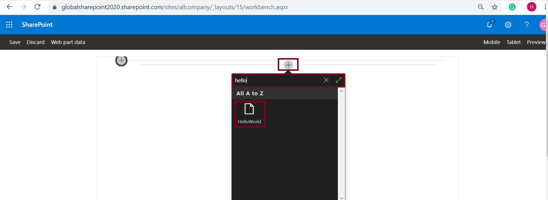 Add SPFx Web Part from SharePoint workbench.aspx