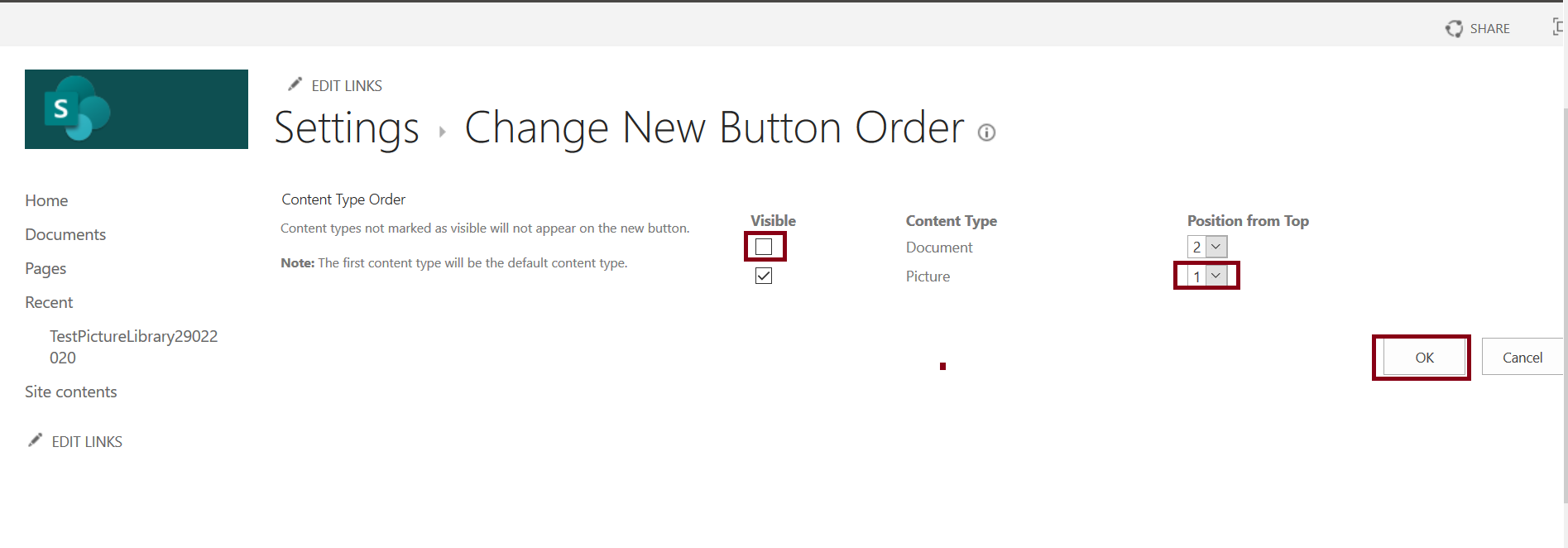 Change New Button Order in Document Library Content Type