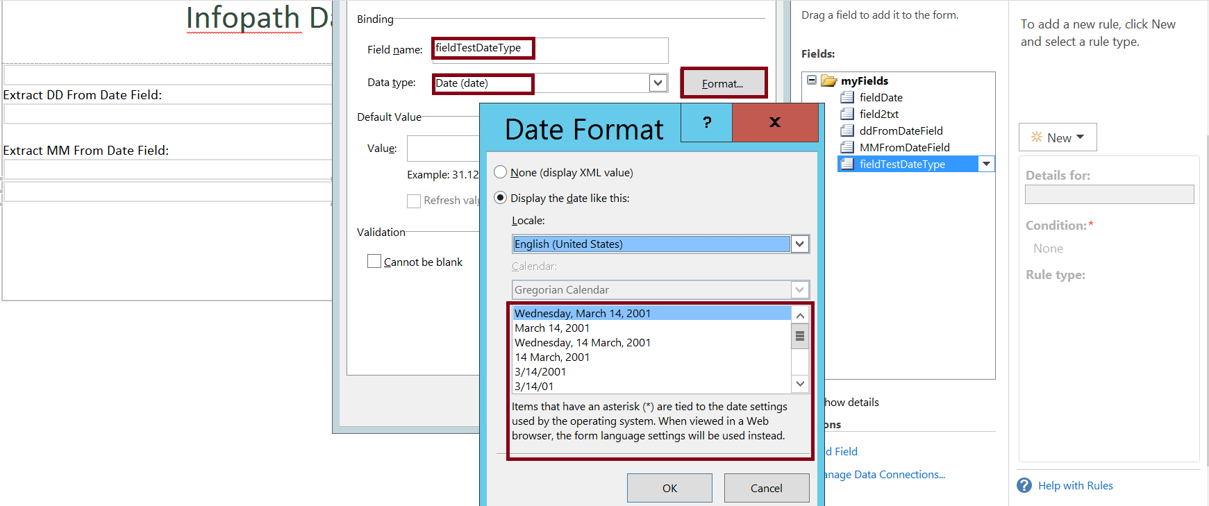 Date format in column in Infopath form