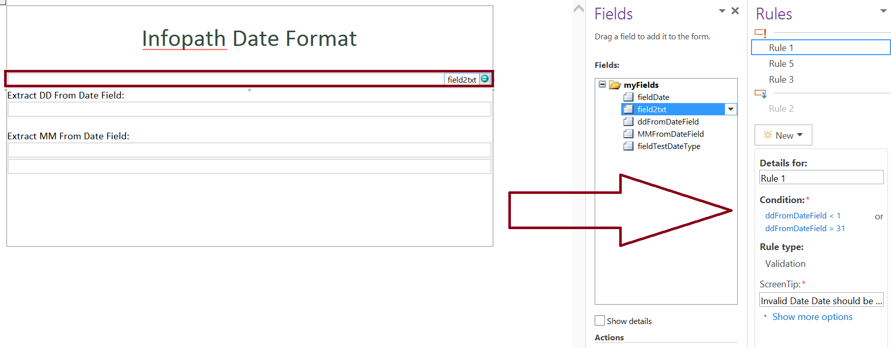 Date format validation in infopath form - day part