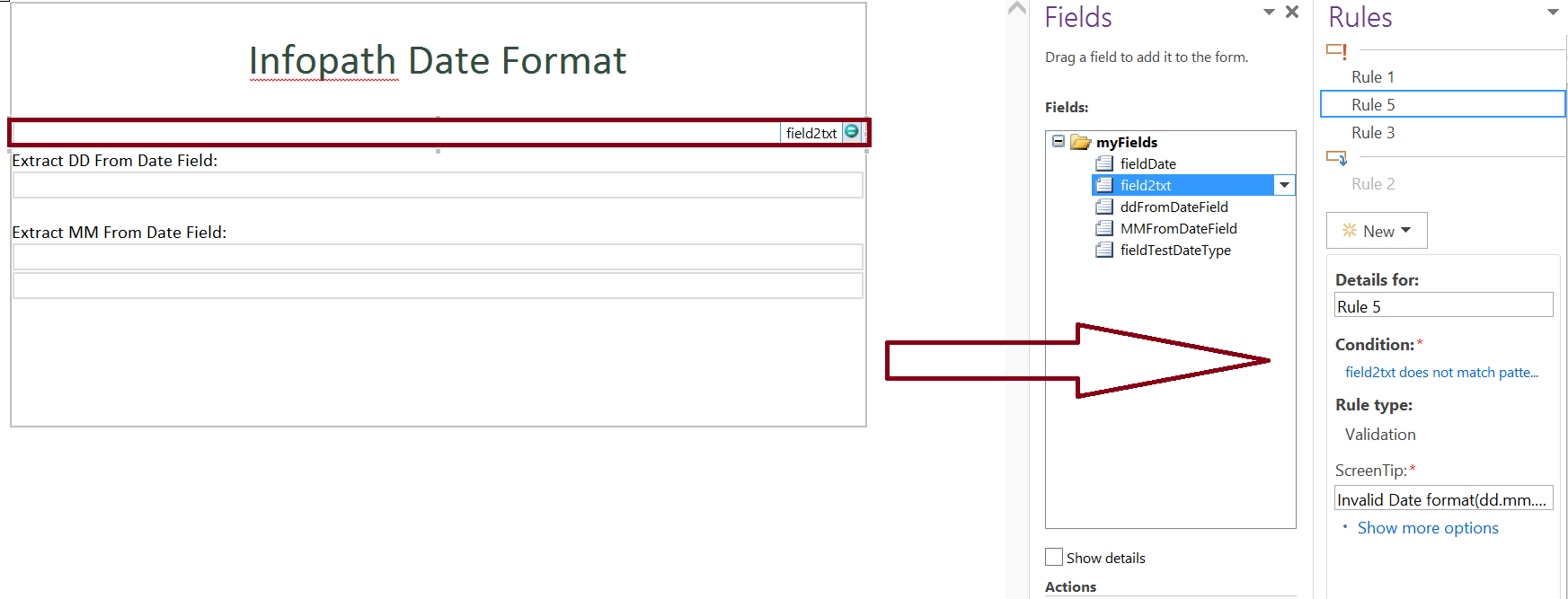 Date format validation in infopath form - does not match custom pattern
