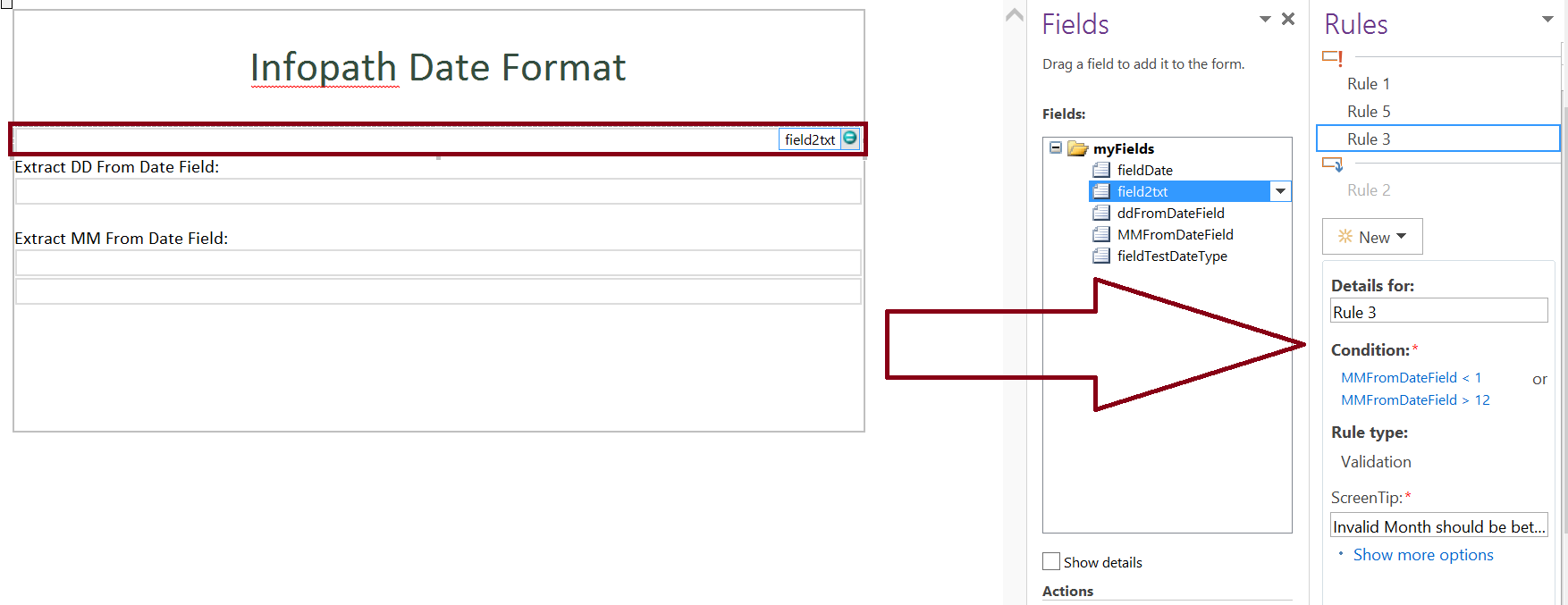 Date format validation in infopath form - month part