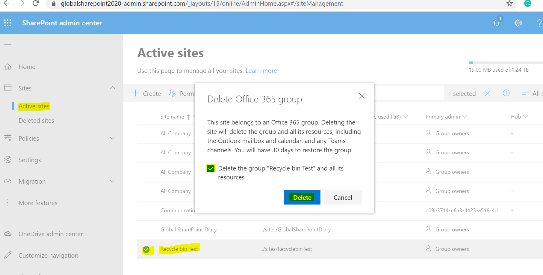 Delete site collection from SharePoint Online Admin Center - Office 365 Group Connected