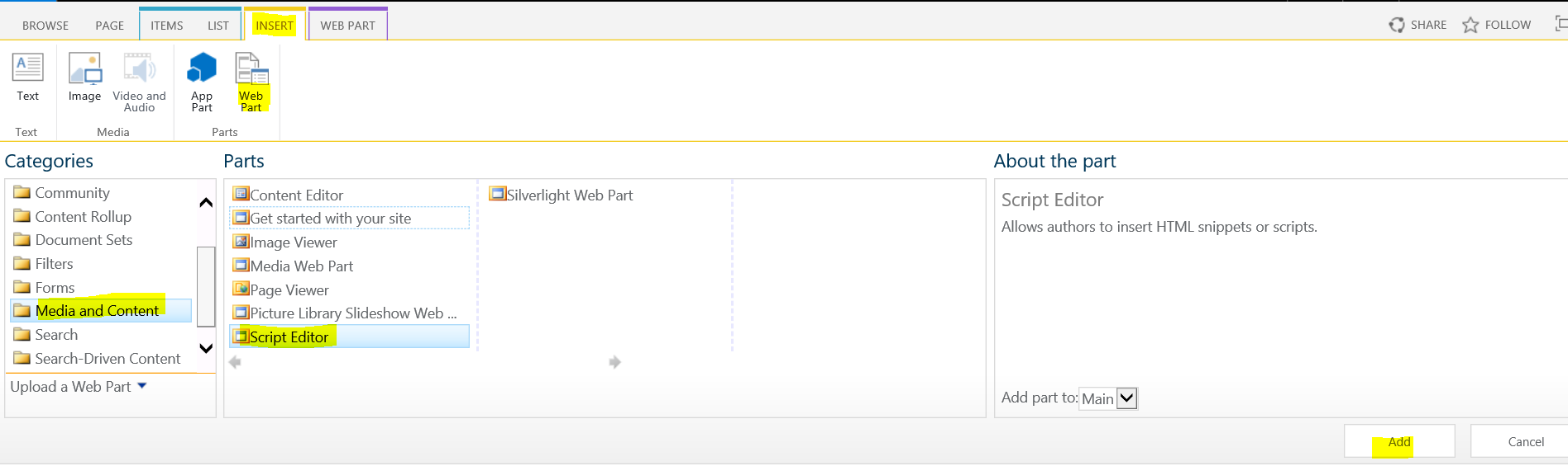 How to add script editor web part in the SharePoint page