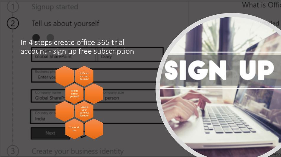 In 4 steps create office 365 trial account - sign up free subscription