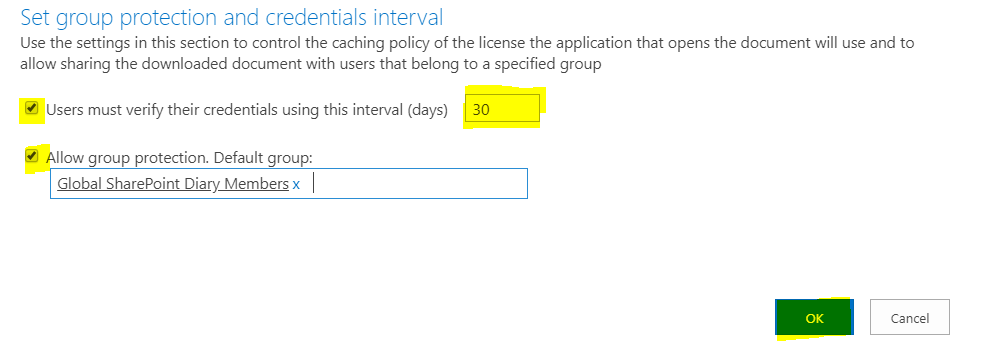 Information Rights Management Settings - Set group protection and credentials interval