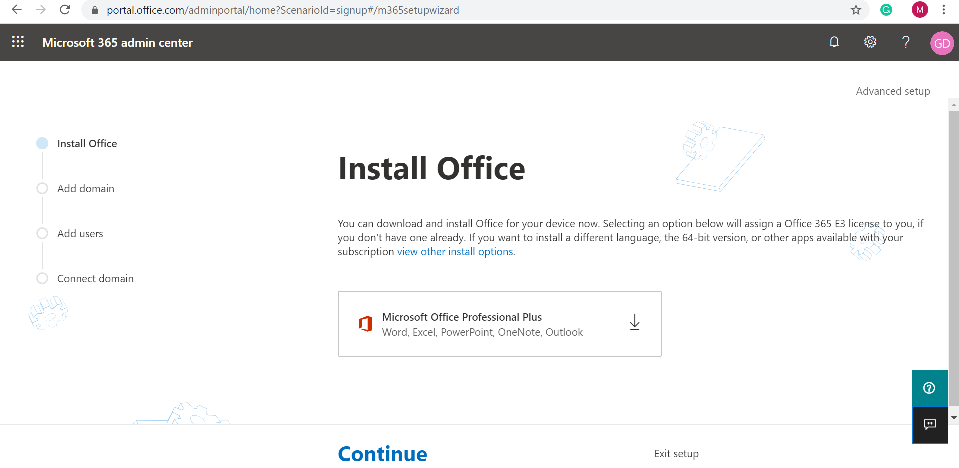 Office 365 E3 Trial - Microsoft 365 admin center home page