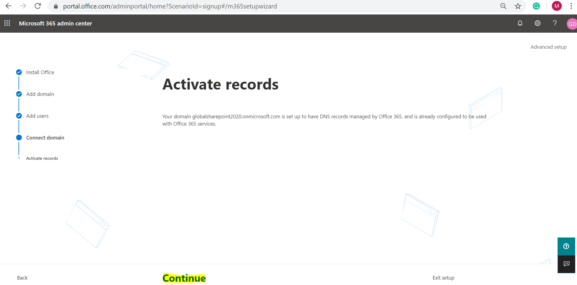 Office 365 E3 Trial - Microsoft 365 admin center home page - Activate Records