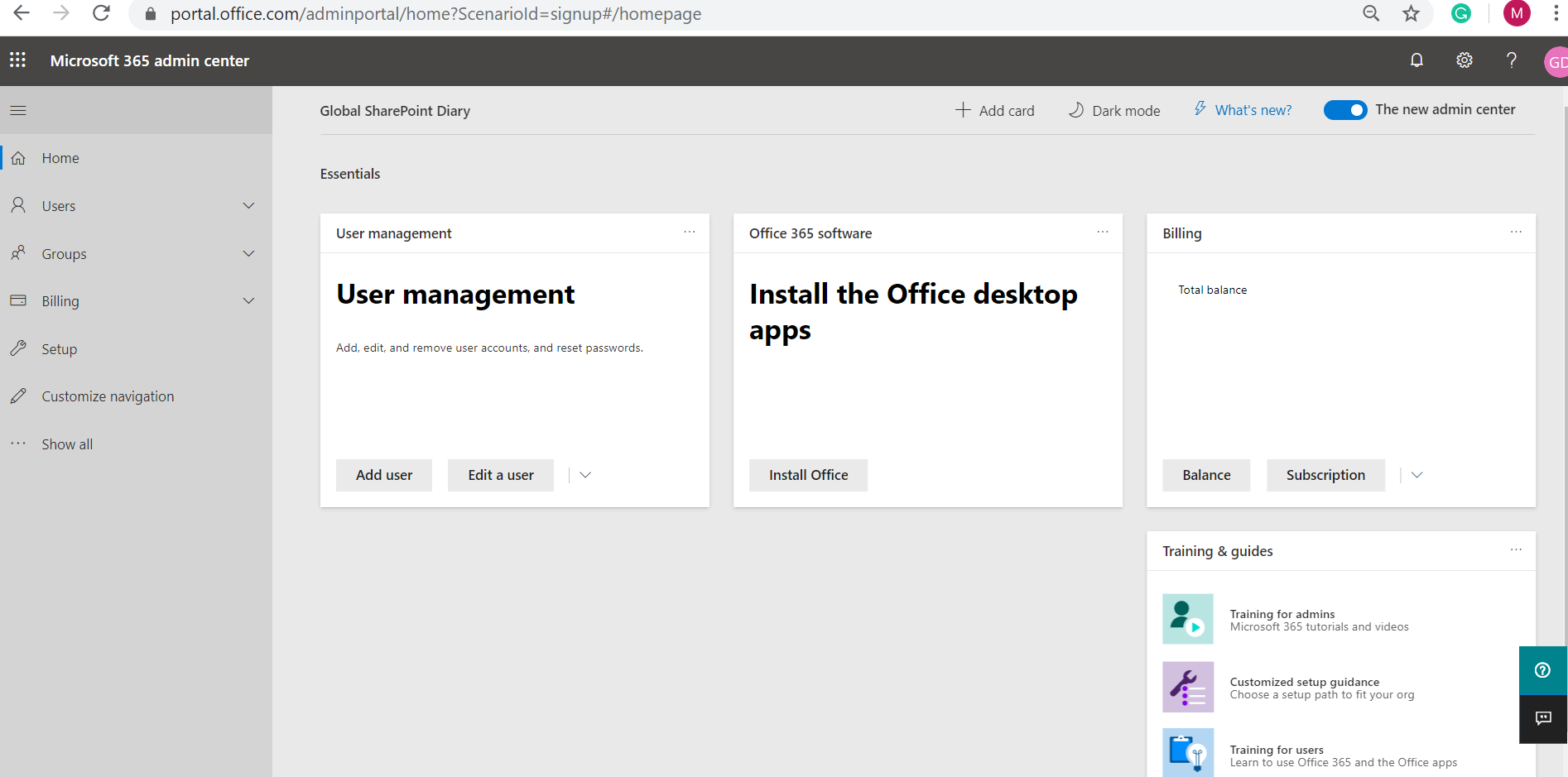 Office 365 E3 Trial - Microsoft 365 admin center home page - after configuration
