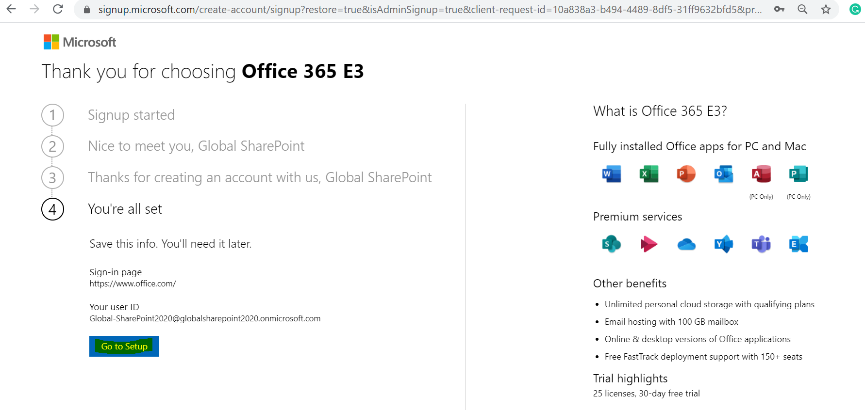 Office 365 E3 Trial - Set up account - You're all set message