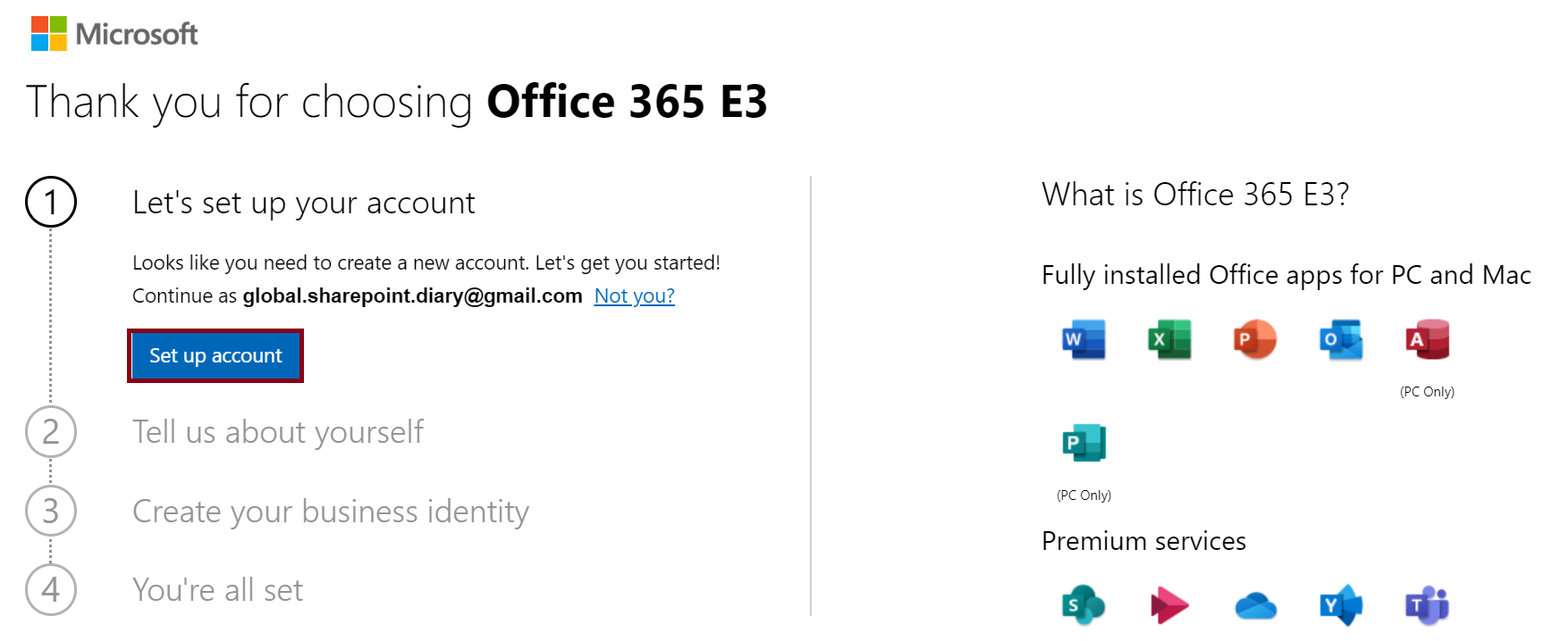 Office 365 E3 Trial - Set up account