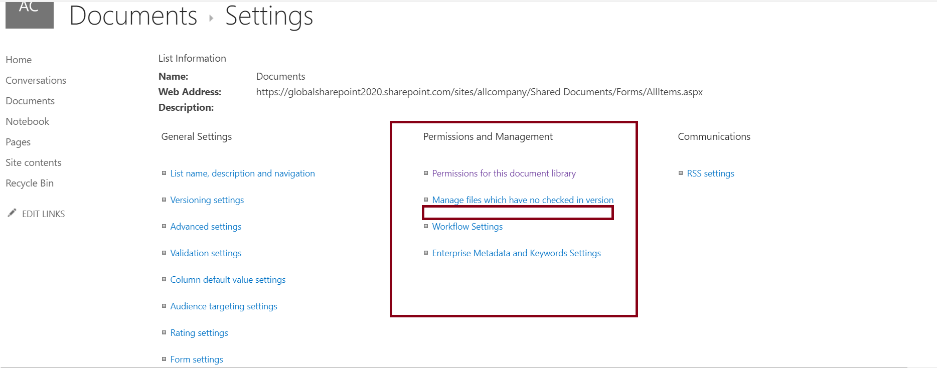 Permissions and management in document library settings