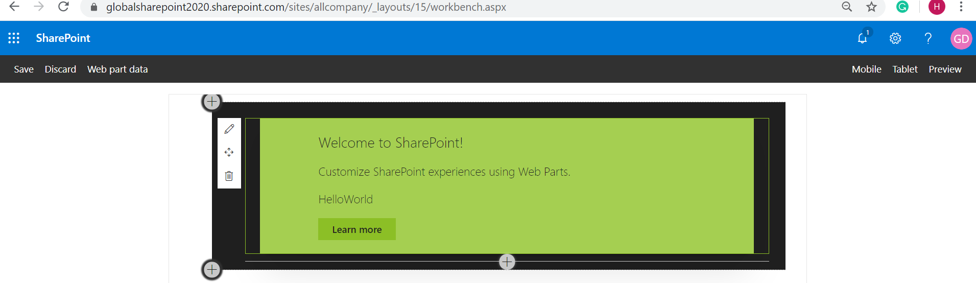 Preview of Hello World Web Part in the browser - from SharePoint Workbench