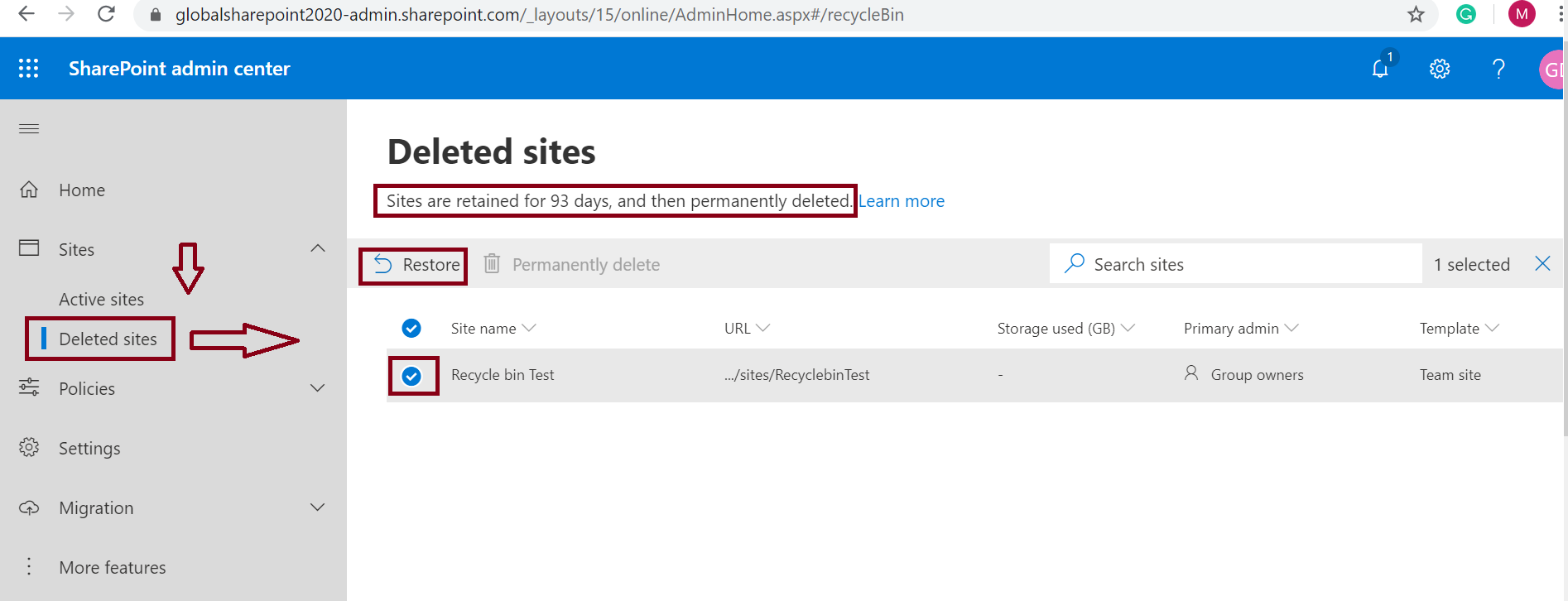 Restore deleted site collection from SharePoint Online Admin Center - Office 365 Group Connected