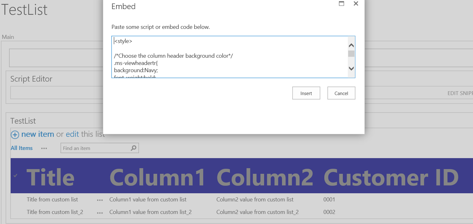 SharePoint List view formatting - add css in script editor web part