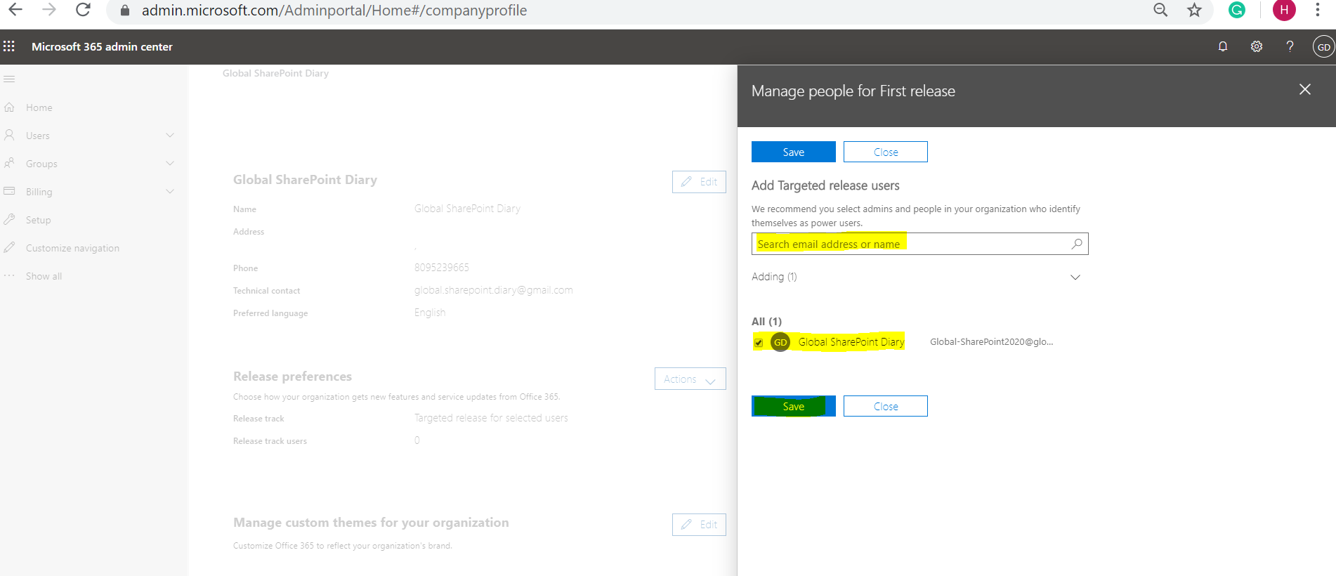 Add Targeted release users - Release Preferences in Office 365 - Organization Profile