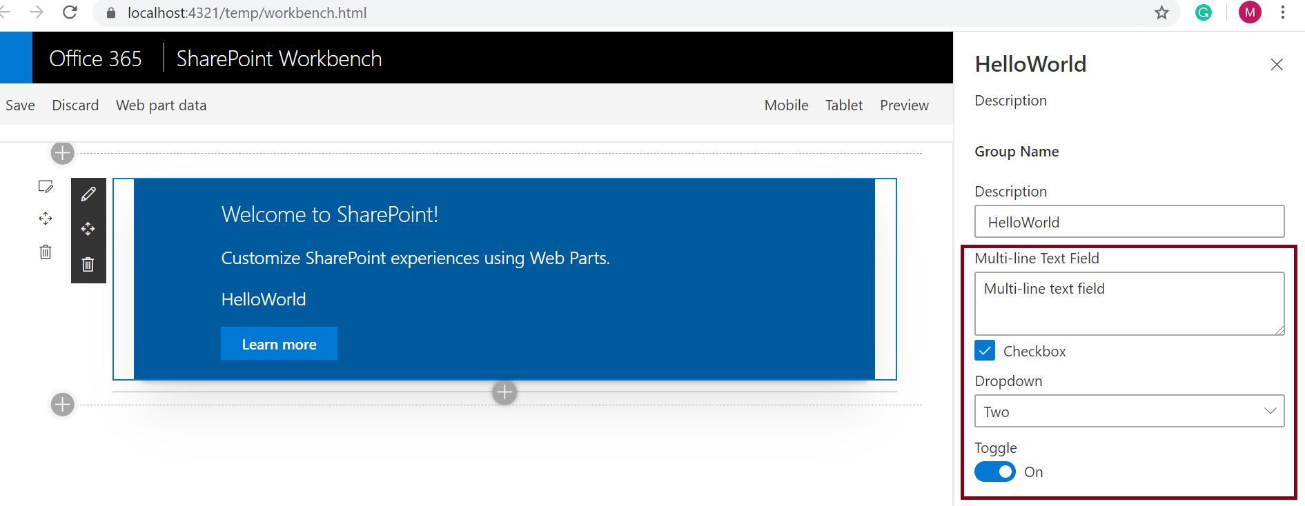Add custom property in SPFx web part - configuration pane