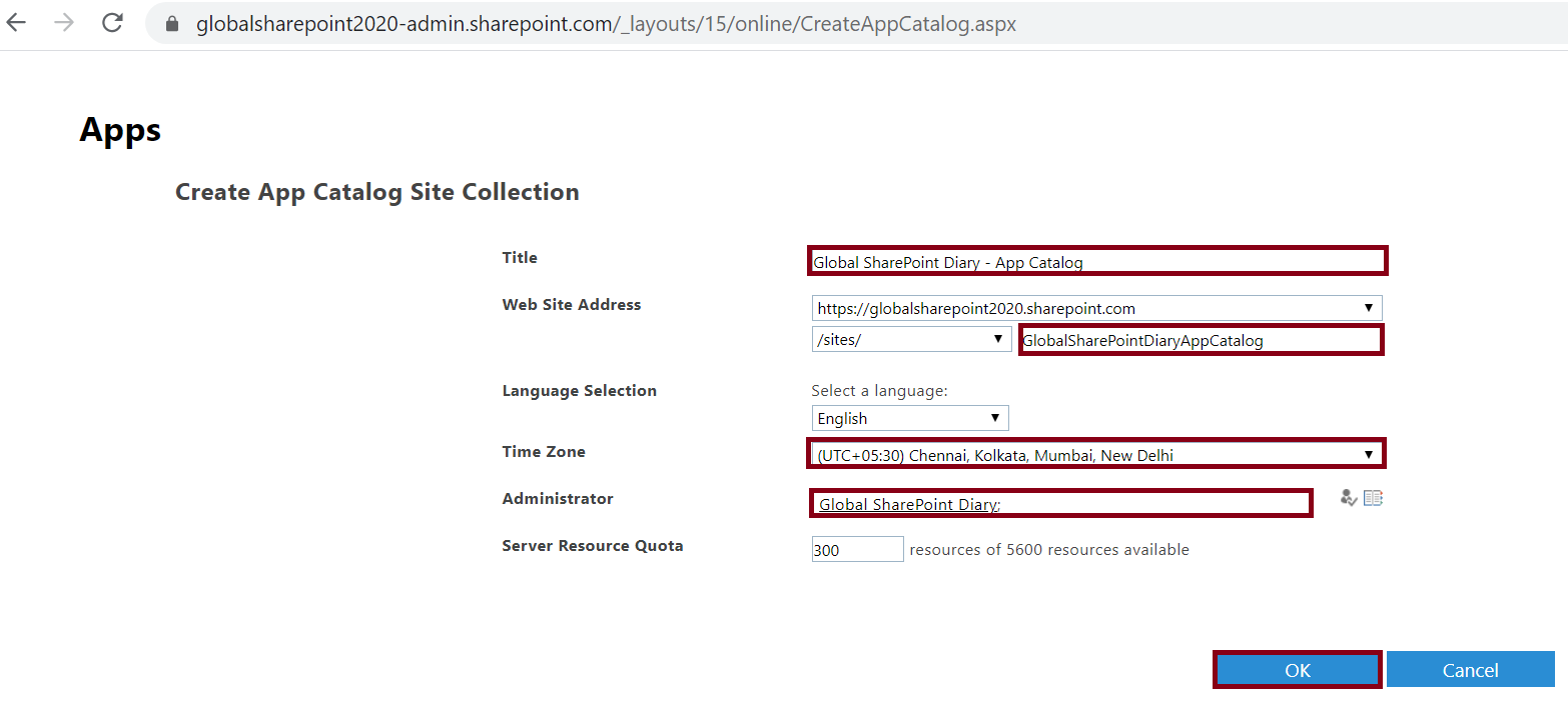 Create App Catalog Site Collection in SharePoint Online Admin Center