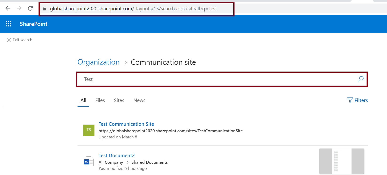 Default organization search result page in SharePoint Online
