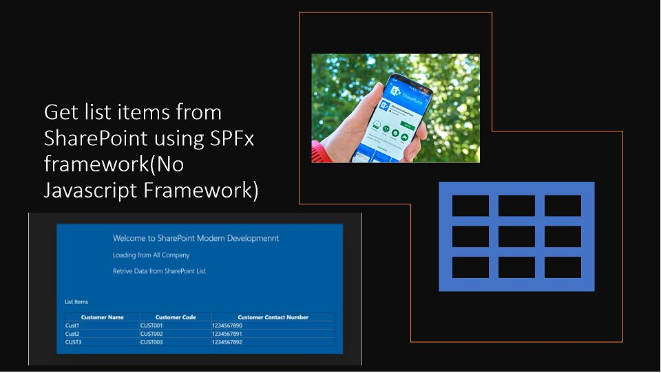 Get list items from SharePoint using SPFx framework(No Javascript Framework)
