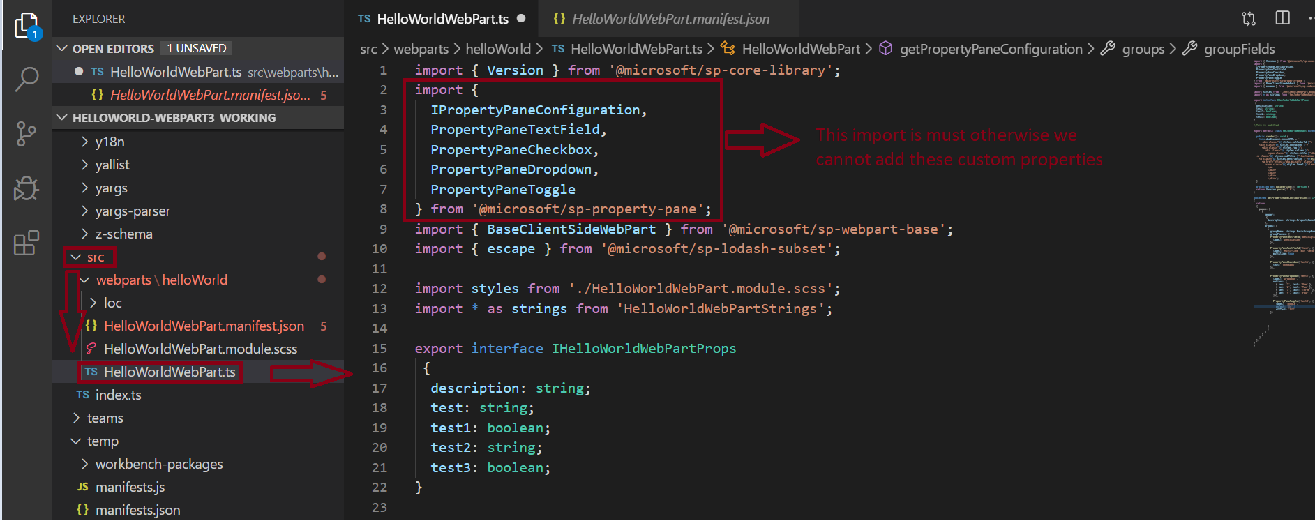 Import microsoft-sp-property-pane for the custom property
