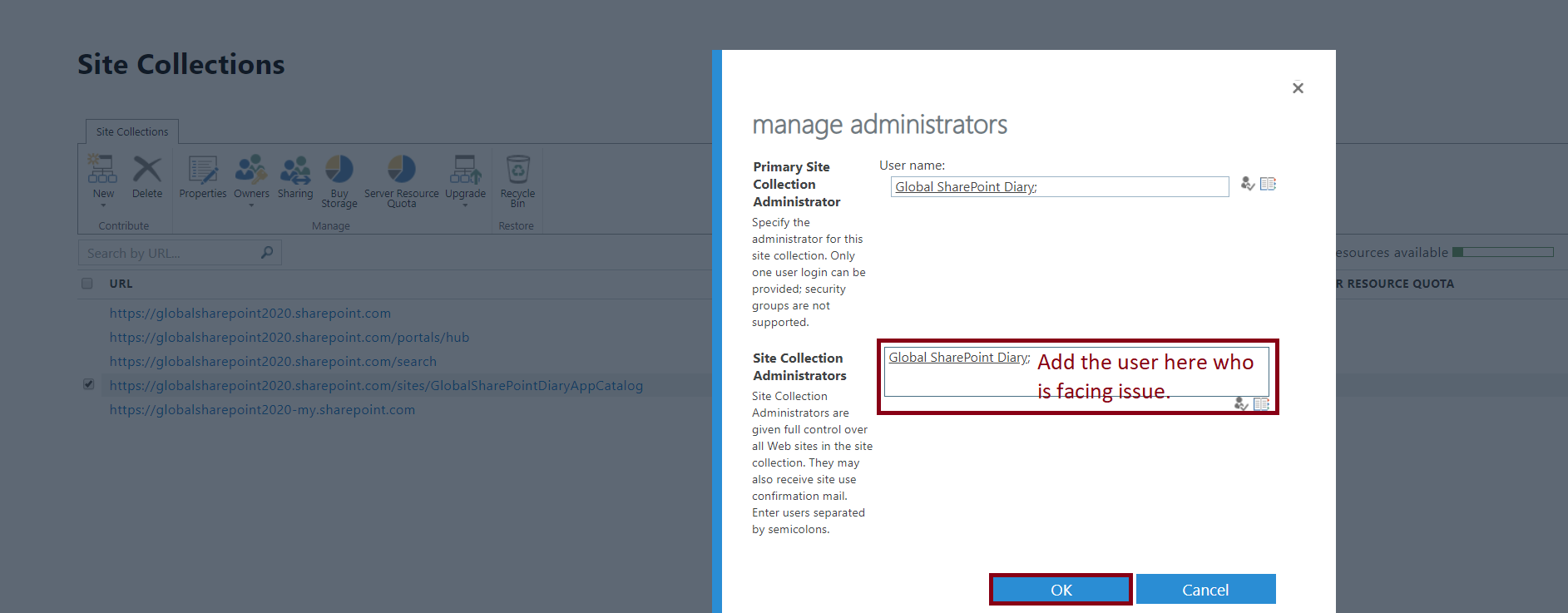 Manage Administrator in the SharePoint Online Classic Site Collection - Add Site Collection Administrator