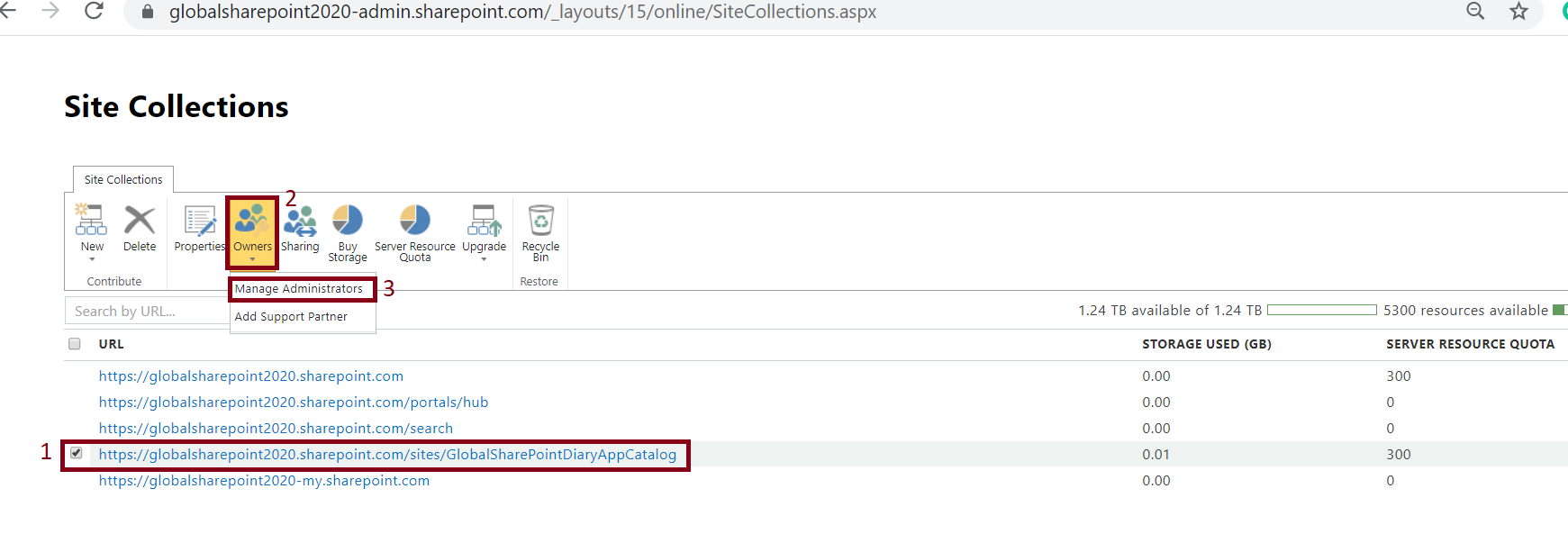 Manage Administrator in the SharePoint Online Classic Site Collection