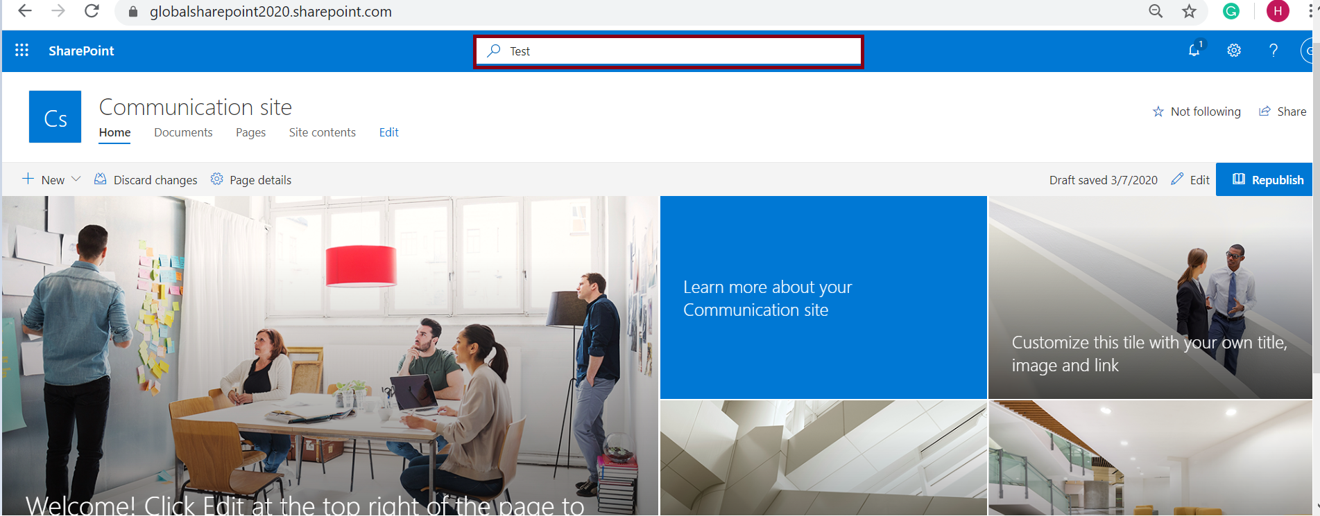 Office 365 suite search box test in modern SharePoint Online
