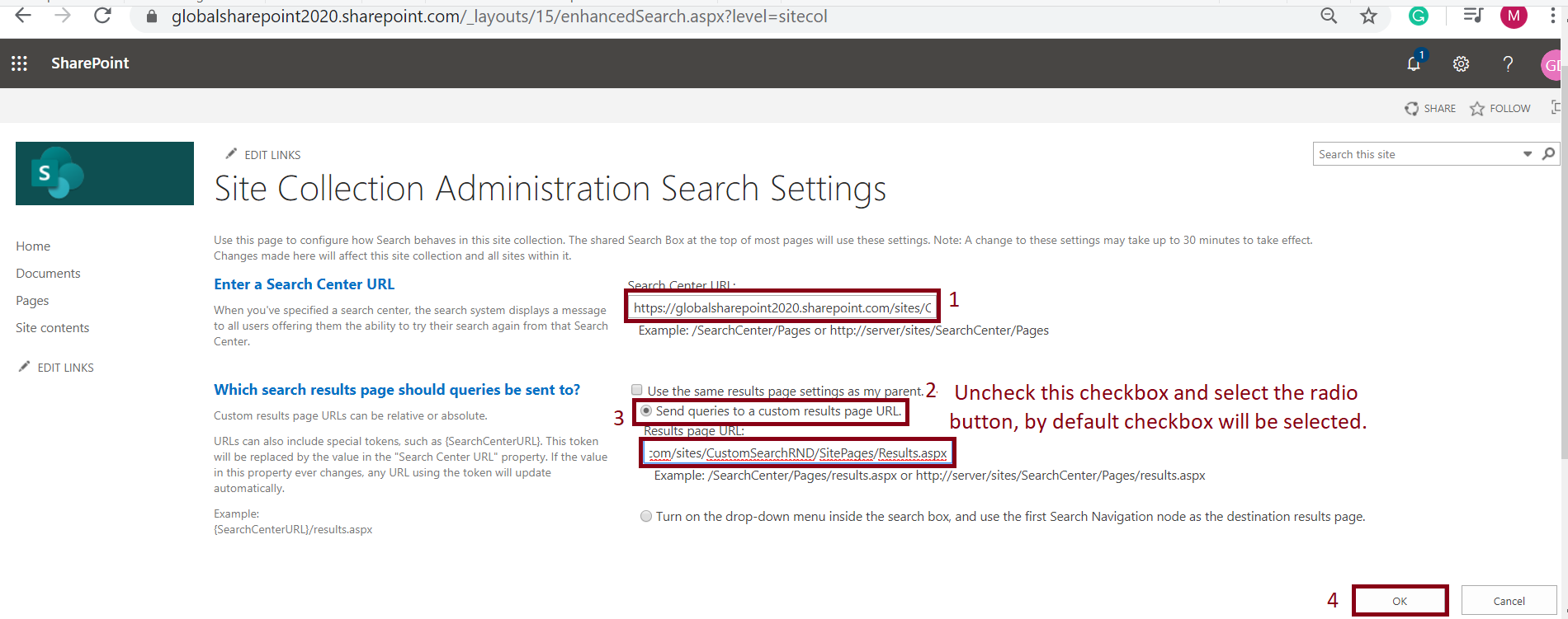 Search settings page configuration in SharePoint Online