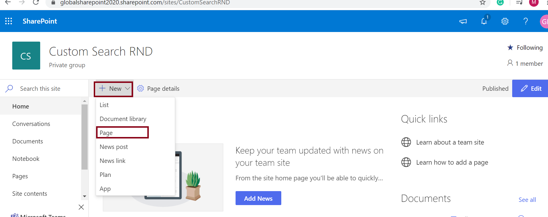 Steps to create a page in SharePoint Online - Click on the New button