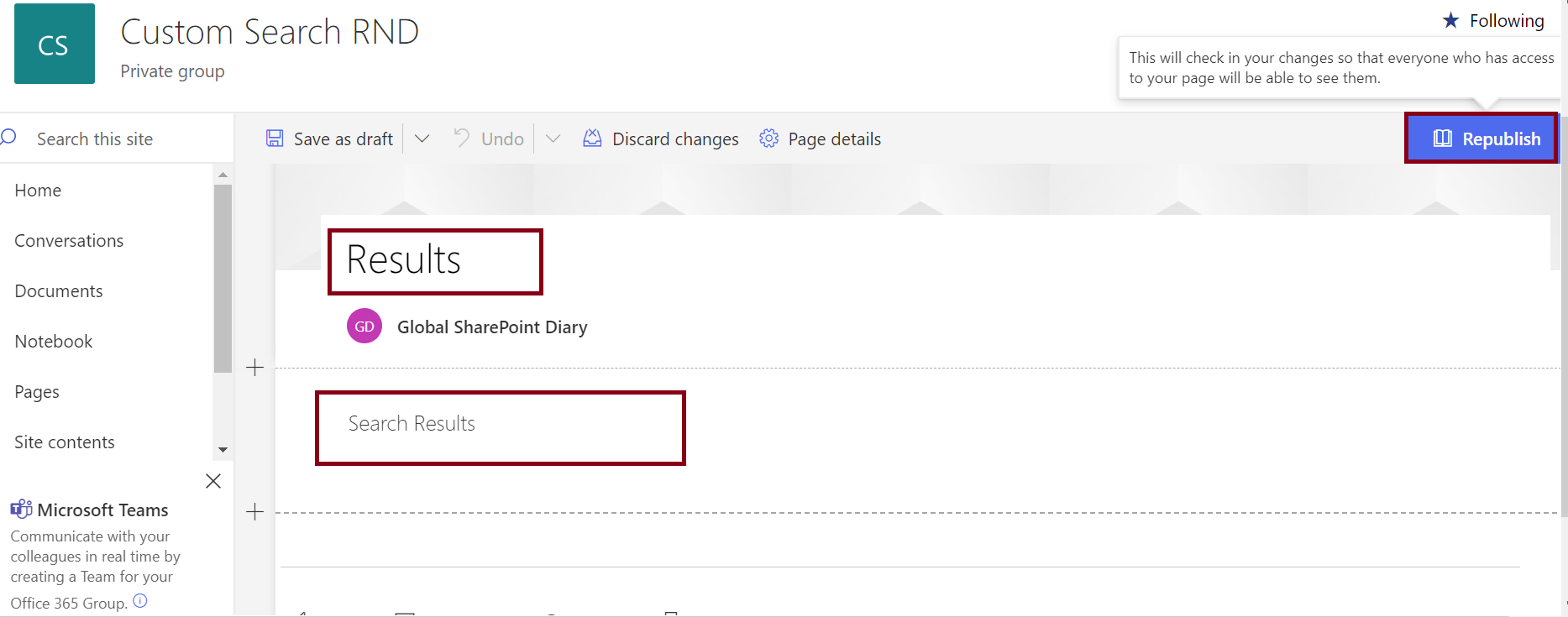 Steps to create a page in SharePoint Online - publish the page