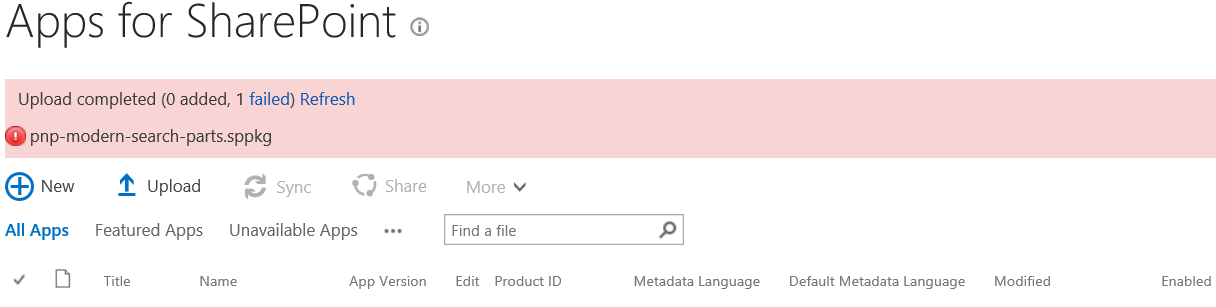 Upload SharePoint App in App Catalog is failed