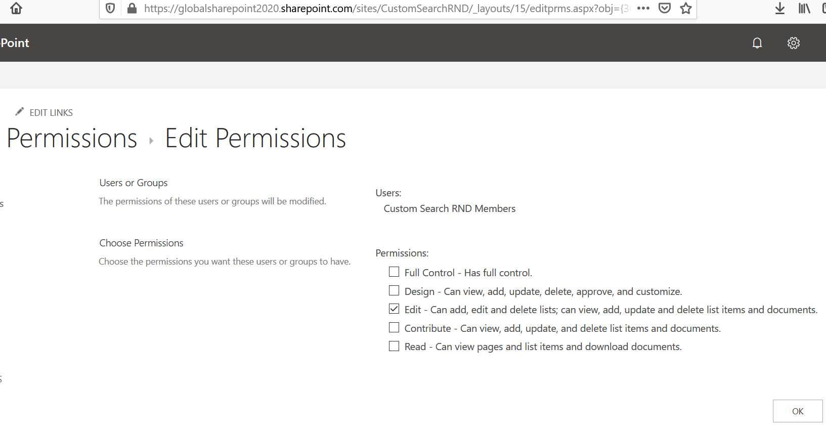 Edit User Permission button is grayed out in SharePoint Online