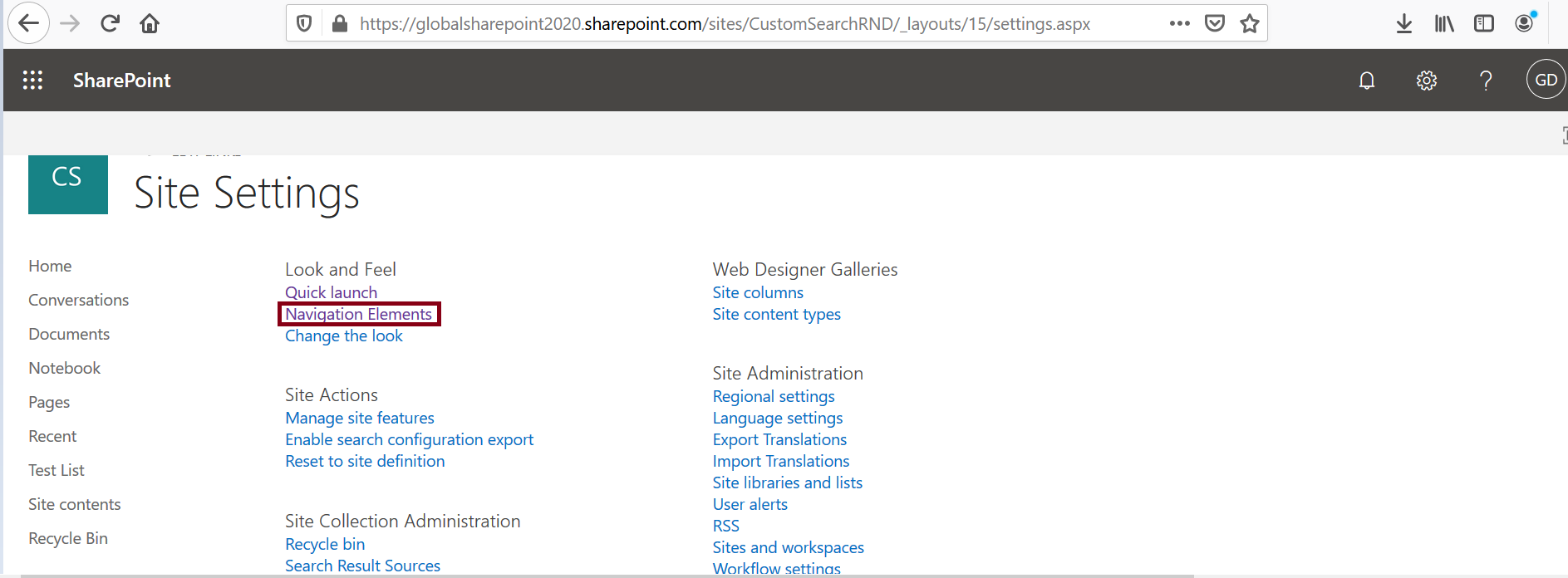Navigation elements in site settings page - SharePoint look and feel