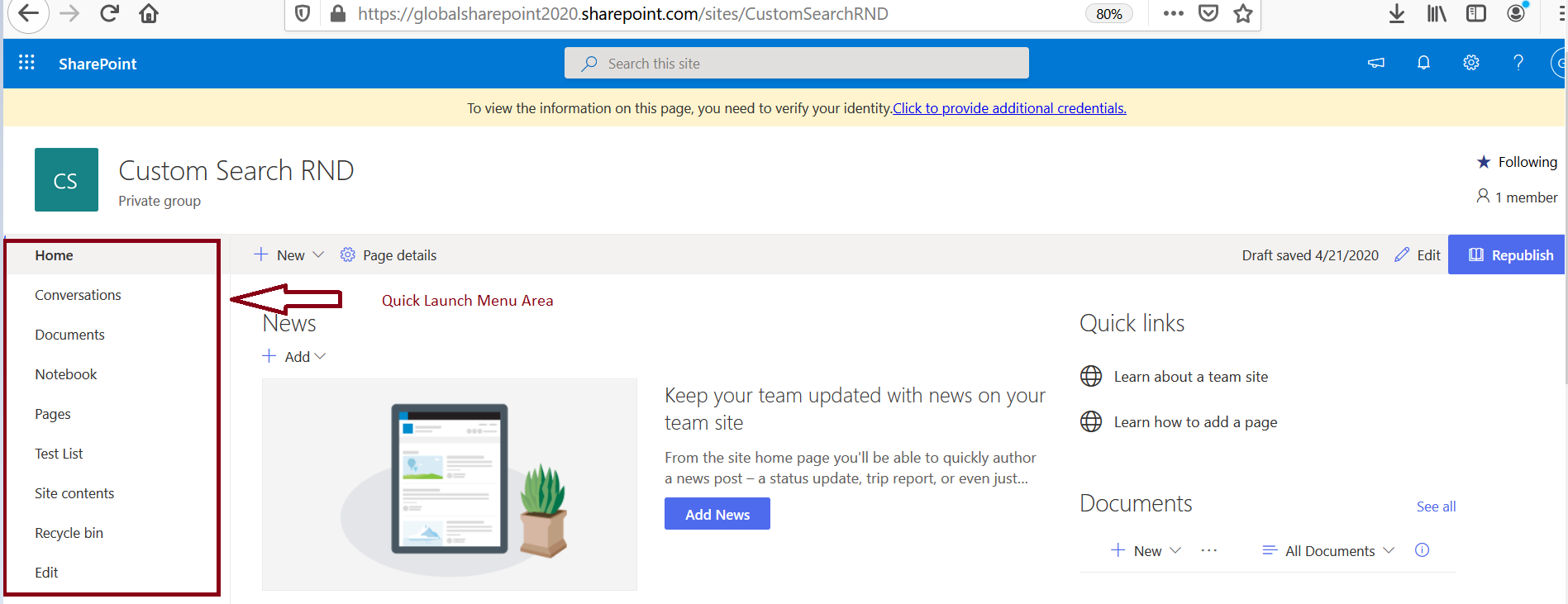 Quick Launch Menu in SharePoint Online