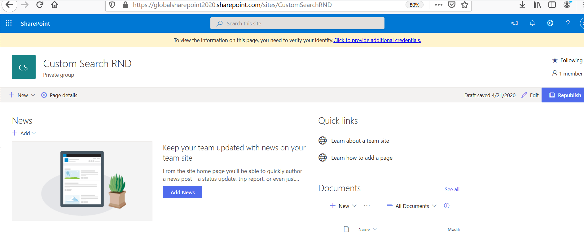 Quick Launch is disabled or hidden in SharePoint Online Team Site