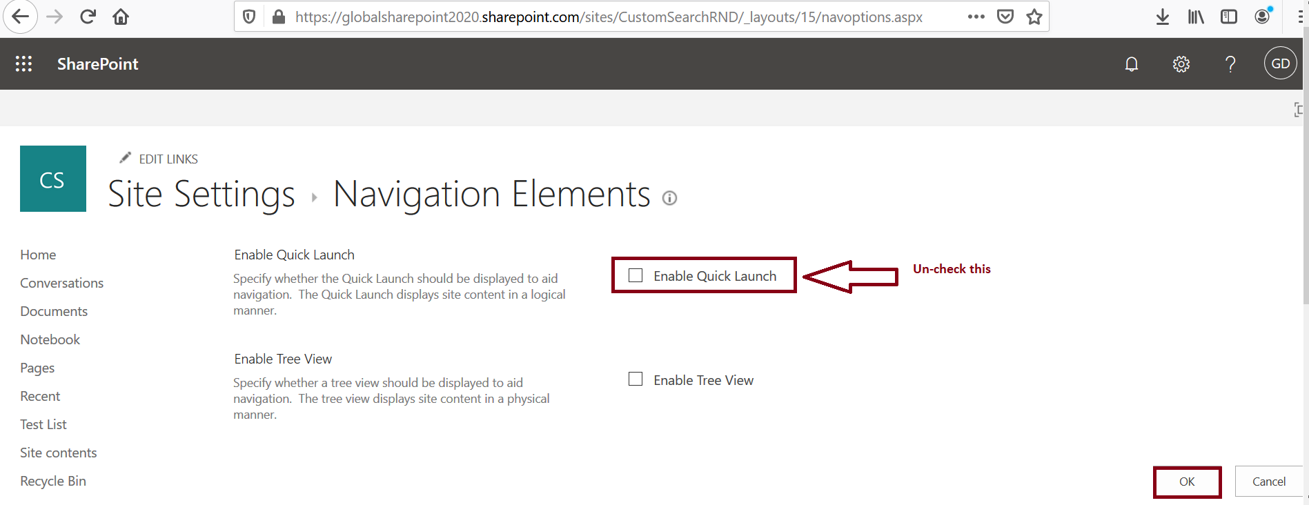 Site Settings - navigation elements - enable quick launch-SharePoint Online