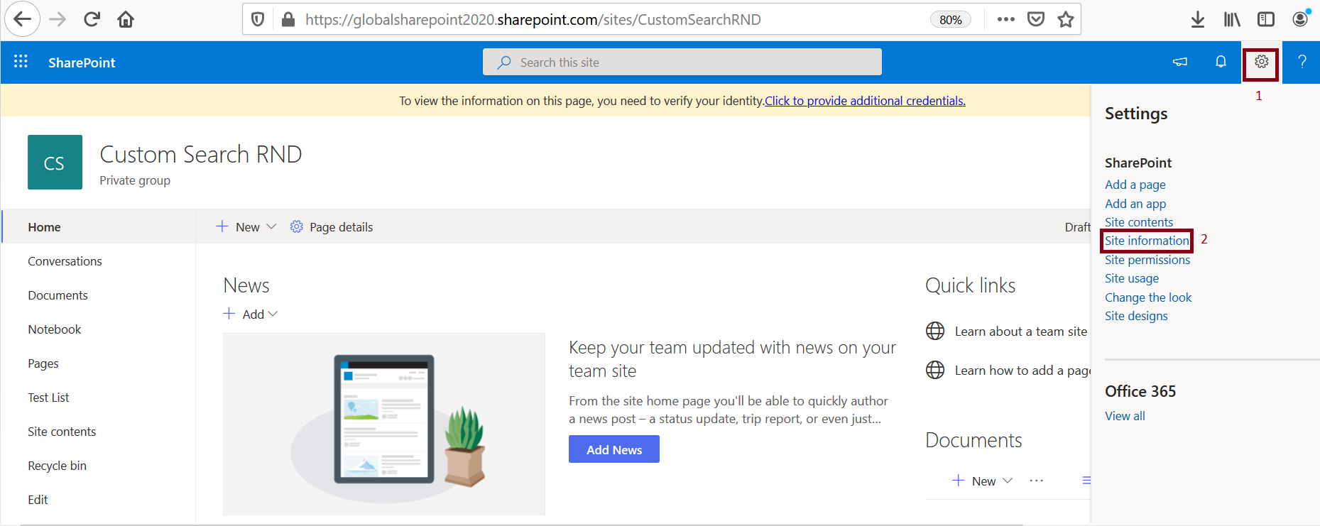 Site information from SharePoint site settings
