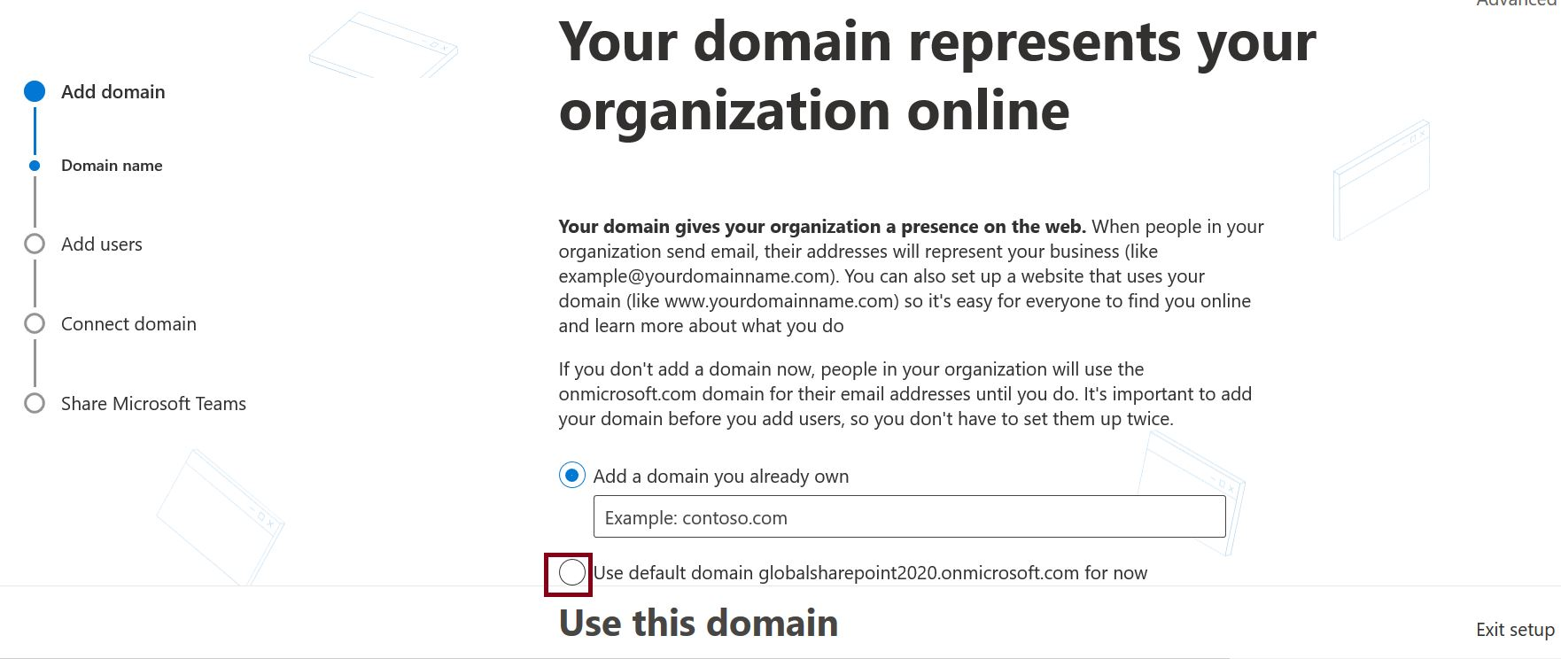 Add Domain - Your domain represents your organization online