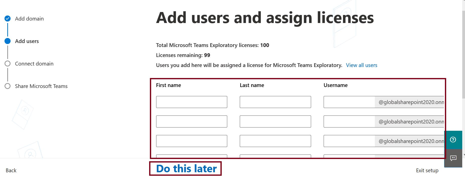 Add users and assign licenses in Microsoft 365 admin center