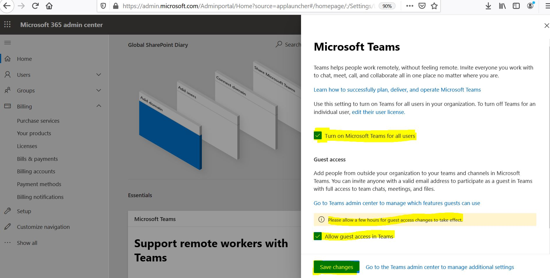 Allow guest access in Teams from Microsoft 365 admin center